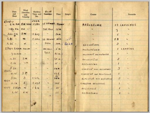 Norman Bruce Scott's pilot log book