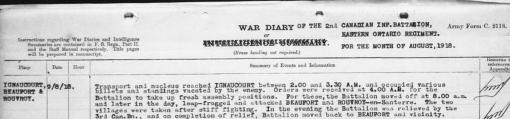 2nd Battalion war diary 9th August 1918