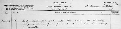 21st Battalion war diary for date of Frank Culhane's injury