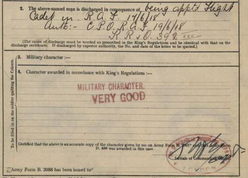 Detail of Henstridge's discharge paper