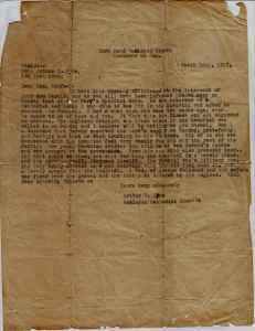 Letter from Arhtur S. Lyne to Mrs McAfee