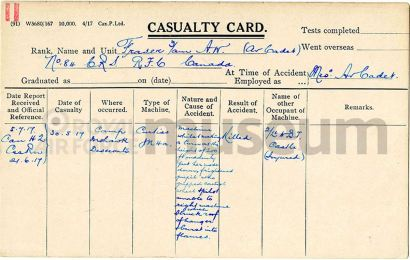 Allan Walton Fraser RFC casualty card