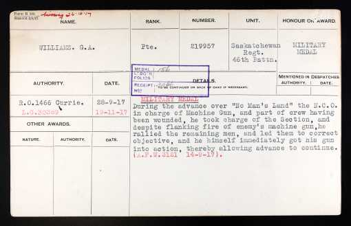 Military Medal citation for George Albert Williams