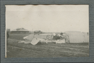 Photograph by Harry McBride of Lee Roebuck's crash