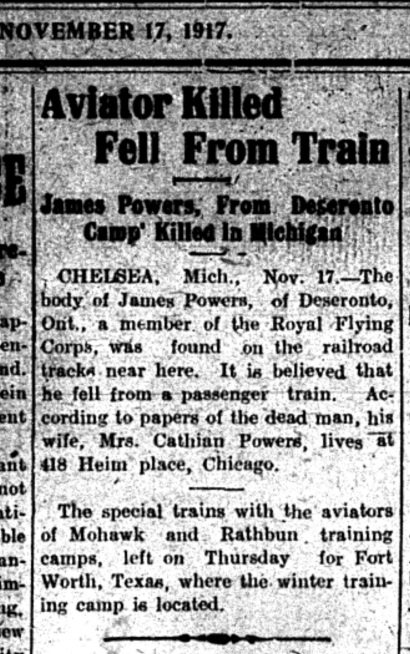 Intelligencer report of 1917 Nov 17 on James Power's death