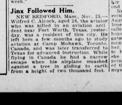 Tulsa Daily World report on Wilfred C. Alcock's death