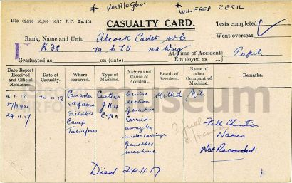Wilfred C. Alcock RFC casualty card