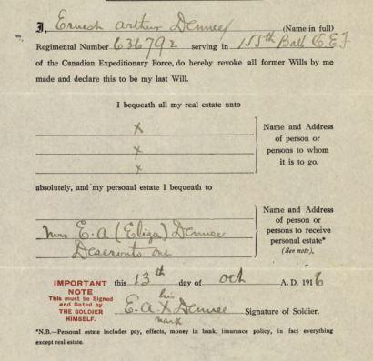 Ernest Arthur Denee's will