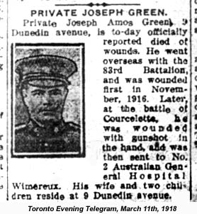 Toronto Telegram report of Joseph Amos Green's death