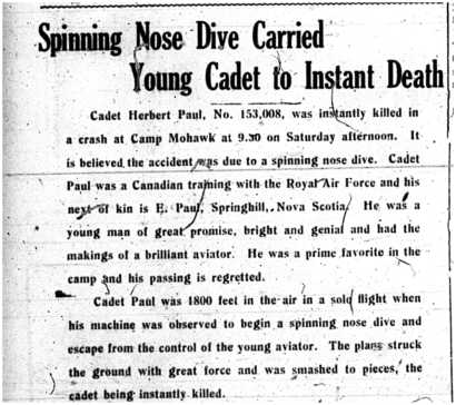 Intelligencer newspaper's report of May 6th 1918 on Herbert Paul death