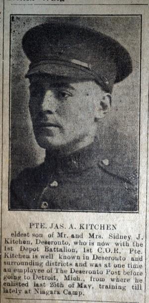 Deseronto Post 1918 Jul 18 James Kitchen's enlistment