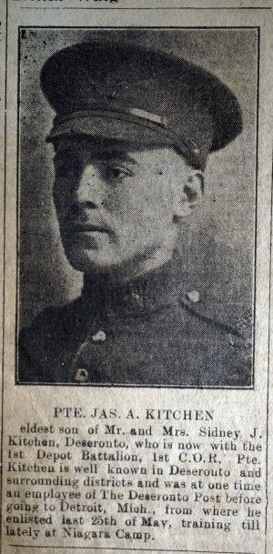 Deseronto Post 1918 Jul 18 James Kitchen's enlistment