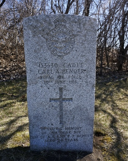 Grave of Carl A. Bender in Deseronto Cemetery