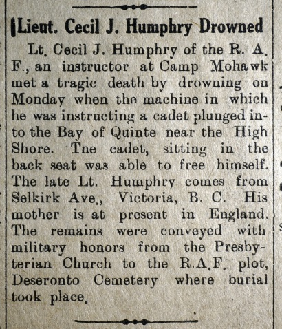 1918 Jul 18 Deseronto Post report of Lieut Humphrey's death