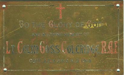 Lt Coleridge plaque