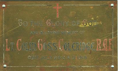 Lt Coleridge plaque