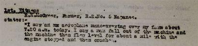R. H. McCreer's evidence