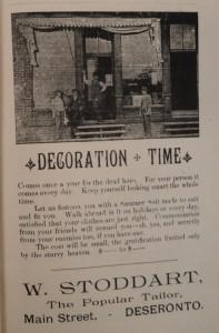 Advertisement for Stoddart's tailor shop